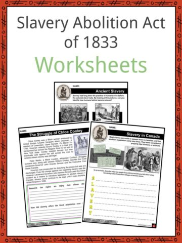 Slavery Abolition Act of 1833 Worksheets