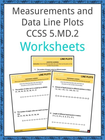 Measurements and Data Line Plots CCSS 5.MD.2 Worksheets