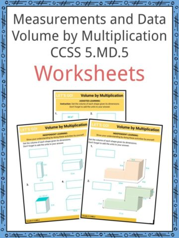 Measurement and Data Grade Volume by Multiplication CCSS 5 MD.5 Worksheets