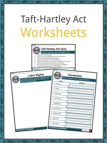 Taft-Hartley Act Worksheets