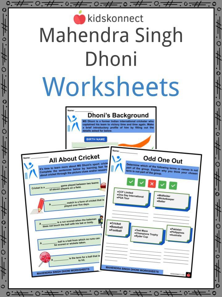 Mahendra Singh Dhoni Worksheets